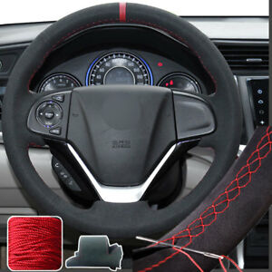 Steering Wheel Cover Suede Hand Stitch Wrap For Honda Crv Cr V 2012 16 13 14 15