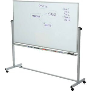 Rolling Magnetic Dry Erase Whiteboard Double Sided Reversible 72 X 40 Lot