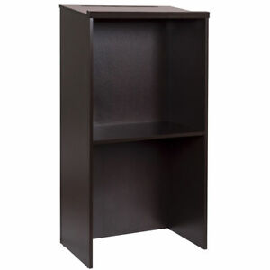 Stand up Wood Lectern Floor Standing Podium With Shelf And Pen pencil Tray