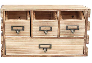 Country Rustic Distressed Wood Office Desktop Desk Drawer Organizer Storage Wood