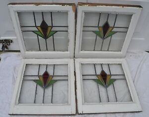 4 Art Deco Leaded Light Stained Glass Window Panels R673 Worldwide Delivery