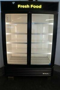 True 2 Glass Door Cooler Merchandiser For Drink Beer Produce Deli Display Items