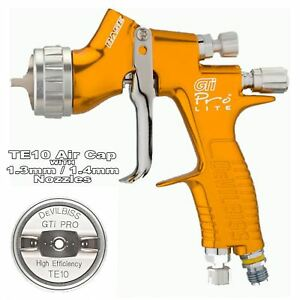 Devilbiss Gti Prolite Gold Te10 Solvent Waterbase Spray Gun 1 3 1 4mm Tip