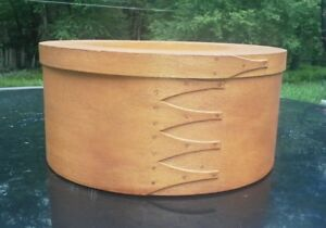 Nice Lg 12 Vintage Shaker Round Five Finger Lapped Cherry Wood Pantry Box
