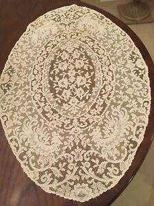 Vintage French Alencon Lace Table Runner Oval