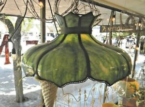 Large 1920 S Vtg 8 Panel Curved Slag Glass Swag Lamp Shade Green White Free Ship