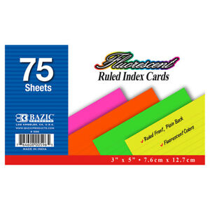 Bazic 75 Ct 3 X 5 Ruled Fluorescent Colored Index Card