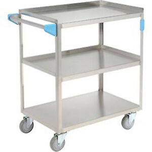 Carlisle Stainless Steel Utility Transportation Cart 300 Lb Cap 3 Shelf