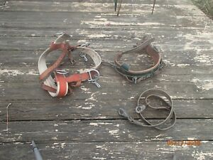 Lot Of 3 Lineman Safety Belt Utility Pole Climbing Harness Klein Buckingham