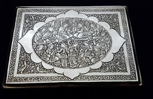 Rare Antique Persian Islamic Middle Eastern Solid Silver Cigarette Case 164 9g