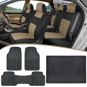Universal Car Seat Covers Heavy Duty Rubber Floor Mats Trunk Liner Tan Black