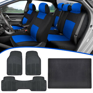 Universal Car Seat Covers Durable Rubber Floor Mats Cargo Liner Blue Black