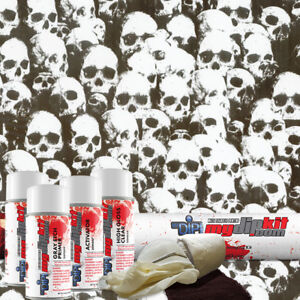 Hydro Dipping Hydrographics Print Film Designer Dip Kit Shadow Skulls Ll296 1