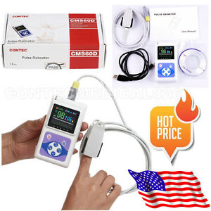 Fda Handheld Pulse Oximeter Oled Spo2 Pulse Heart Rate Monitor Cms60d With Probe