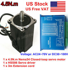 us Nema34 4 5n m Hybrid Servo Motor Closed Loop 82mm 6a Hss86 Driver Cnc Kit