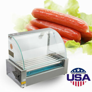 18 Hotdog Roller Commercial Hot Dog 7 Roller Grill Cooker Machine W cover 1050w