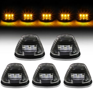 For 99 16 F250 f350 f450 f550 Amber Led Cab Roof Clearance Marker Light Black