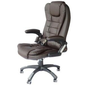 Pu Leather High Back Executive Heated Massage Office Chair Dark Brown X5q0