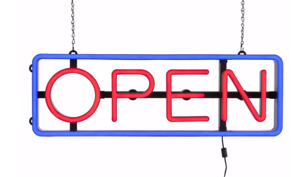 Adjustable Hanging Led Retail Open Sign W Remote Vertical Or Horizontal