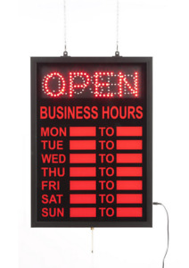 Animated Hanging Led Retail Store Open closed Sign W Business Hours