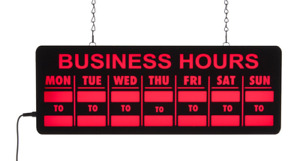 Bright Neon Animated Business Hours Hanging Interior Led Window Display Sign