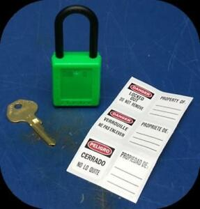 Lot Of 6 Master Lock 406grn Green Lockout Padlock Keyed Differently