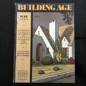 Vintage May 1929 Building Age Magazine W Blueprints For A Stucco Bungalow house