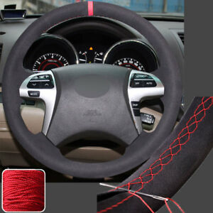 Hand Sew Steering Wheel Cover Wrap For Toyota 08 13 Highlander 11 Camry 14 Hilux