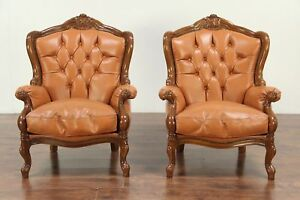 Pair Of Carved Fruitwood Vintage Wing Back Chairs Tufted Leather Italy 28986