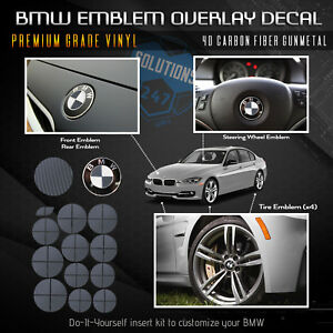 For Bmw All Emblem Overlay Sticker Decal Complete Set Premium 4d Carbon Fiber
