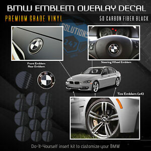For Bmw All Emblem Overlay Sticker Decal Complete Set Pack Glossy Carbon Fiber