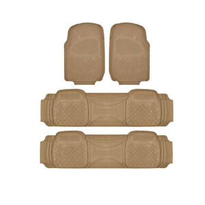 Motor Trend 3 Row Rubber Car Floor Mats For Suv Fits Chevrolet Tahoe Beige