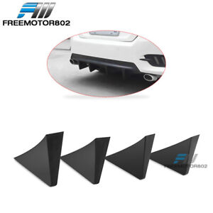 Universal Fit Rear Bumper Lip Diffuser Shark Fins Black 4pc Abs