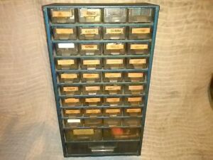 Vintage Grants 38 Drawer Metal Storage Cabinet With Ecg Semiconductors Inside