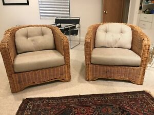 Ficks Reed Wicker Chairs Pair