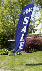 8 For Sale Portable Outdoor Feather Flag W Bag Real Estate Blue Banner Sign