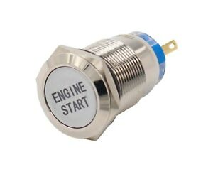 Momentary Engine Start Button Push Switch Ignition Car Automotive Metal 12v 3 4
