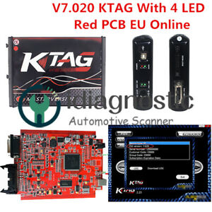 Obd2 Manager Tuning Kit Eu Online Red Pcb Ktag V7 020 Car Ecu Programmer 4 Led