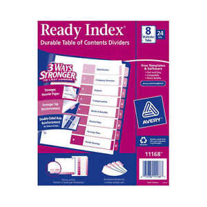 Avery Ready Index Table Of Contents Dividers 8 tab 24 sets free Shipping