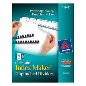 Avery Index Dividers For Laser Clear 5 tab 25 set Ave 11443 free Shipping