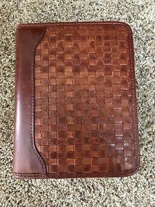 Franklin Quest Franklin Covey Woven Calfskin Leather Compact Binder Light Brown