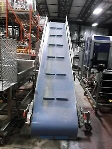 24 X 162 Incline Cleated Stainless Steel Sanitary Blue Belt Conveyor