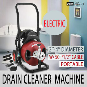 50ft 1 2 Drain Auger Pipe Cleaner Machine Easy Plumbing Cleaning Equipment New