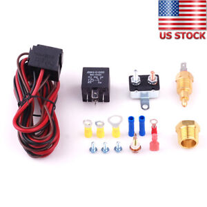 185 To 200 Electric Fan Thermostat Sensor Temperature Switch 60 Amp Relay Kit