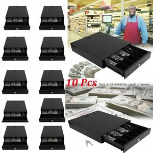 1 10x Cash Drawer Safe Box 4 Bill 5 Coin Tray For Pos Printer Money Storage Bt