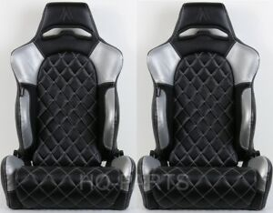 2 X Tanaka Black Silver Pvc Leather Racing Seats Diamond Stitch Fits Mustang