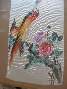 Antique Chinese Embroidery Birds Of Paradise Tapestry On Silk