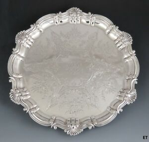 1899 Late Victorian English Sheffield Sterling Silver Shell Scroll Rim Tray