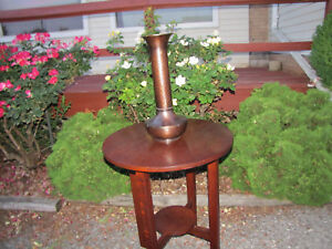 Antique Roycroft American Beauty Tall Hammered Copper Vase Inv5309