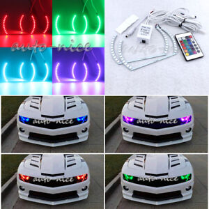 2pcs 16 Color Rgb Led Angel Eye Halo Rings Kit For Chevy Camaro 10 16 Headlight